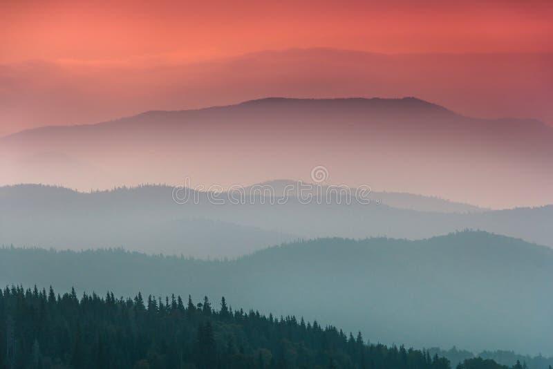 环境美化与森林和阴霾小山盖的五颜六色的层数山 图库摄影