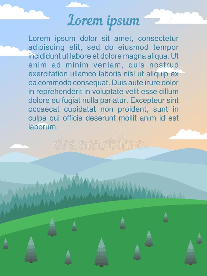 环境美化与绿色草甸,冷杉木,具球果森林,山 向量例证