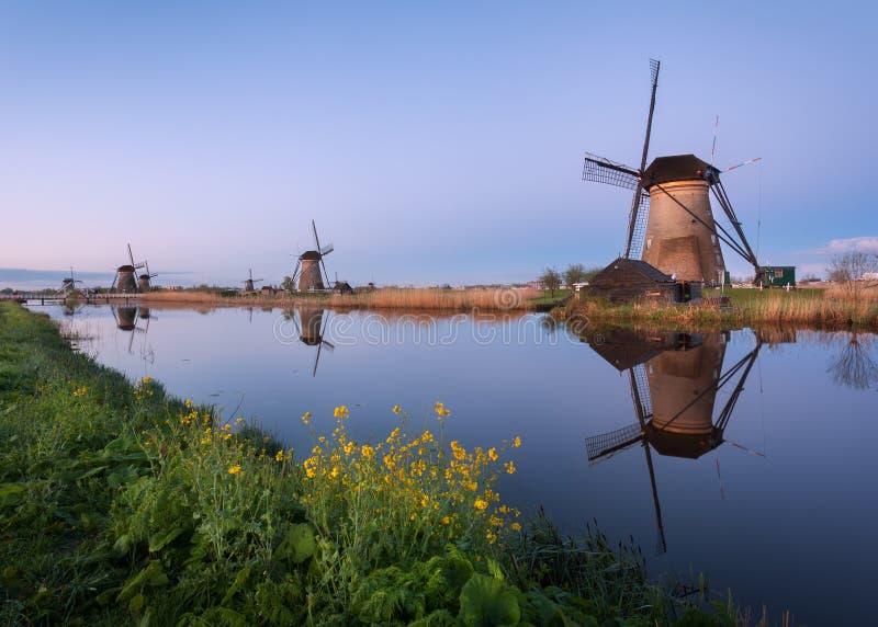 环境美化与美丽的传统荷兰风车在日出 图库摄影