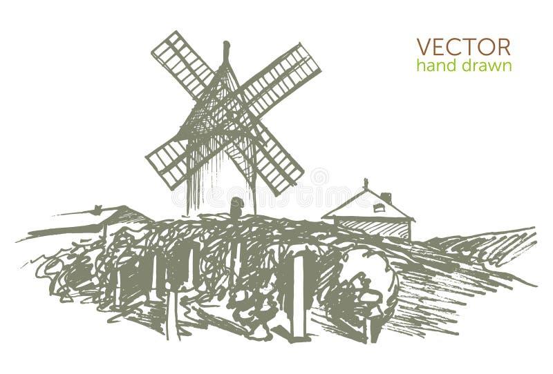 环境美化与风车,葡萄酒样式,博若莱红葡萄酒nouveau 向量例证