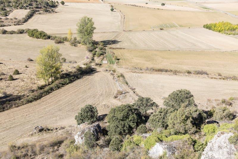 环境美化在从城堡的Calatanazor视图,索里亚,西班牙 免版税库存照片