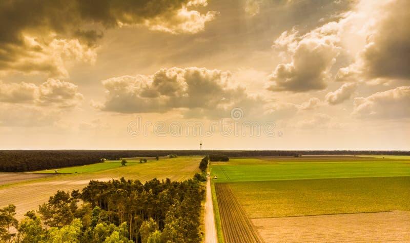 环境美化在北部德国荒地在Celle附近,与一小块森林、草甸、领域和一个电视塔在天际,戏曲 免版税库存照片