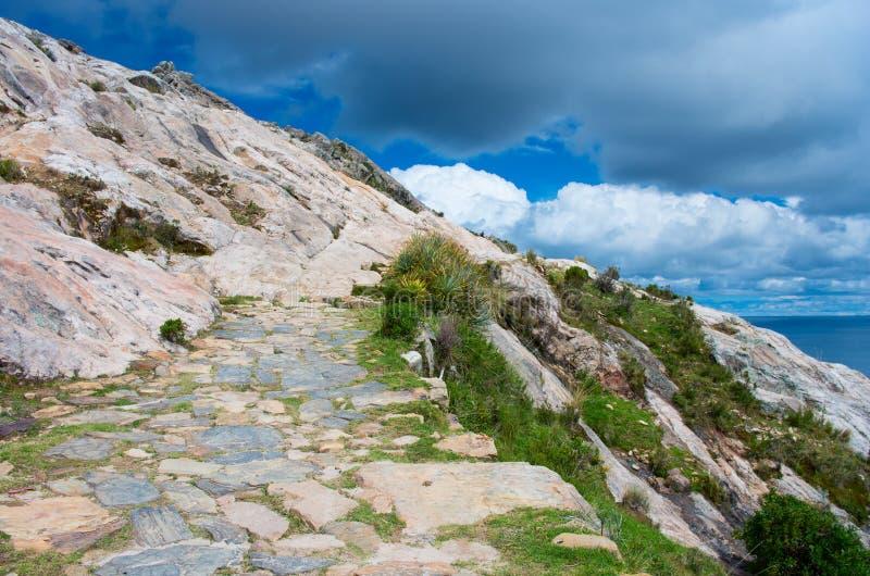环境美化在太阳的海岛上在Titicaca湖的 流星锤 免版税库存图片