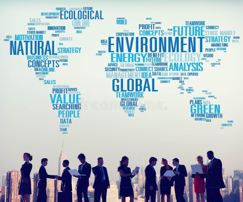 环境自然持续力全球性世界地图概念 免版税库存照片