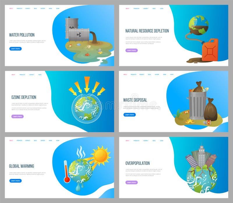 环境问题,废物处置网站 库存例证