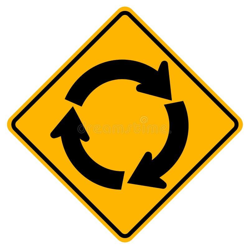 环形交通枢纽交通路标,传染媒介例证,在白色背景象的孤立 EPS10 库存例证
