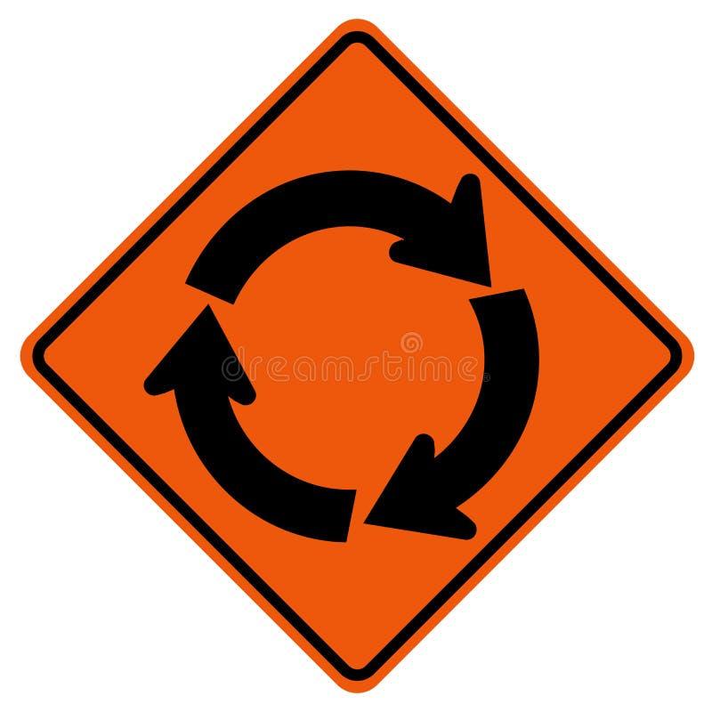 环形交通枢纽交通路标,传染媒介例证,在白色背景象的孤立 EPS10 向量例证