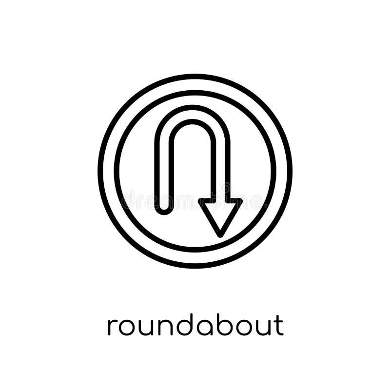 环形交通枢纽标志象 时髦现代平的线性传染媒介Roundabou 向量例证