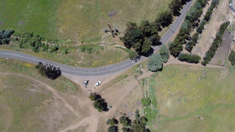 环形交通枢纽的鸟瞰图在智利 图库摄影