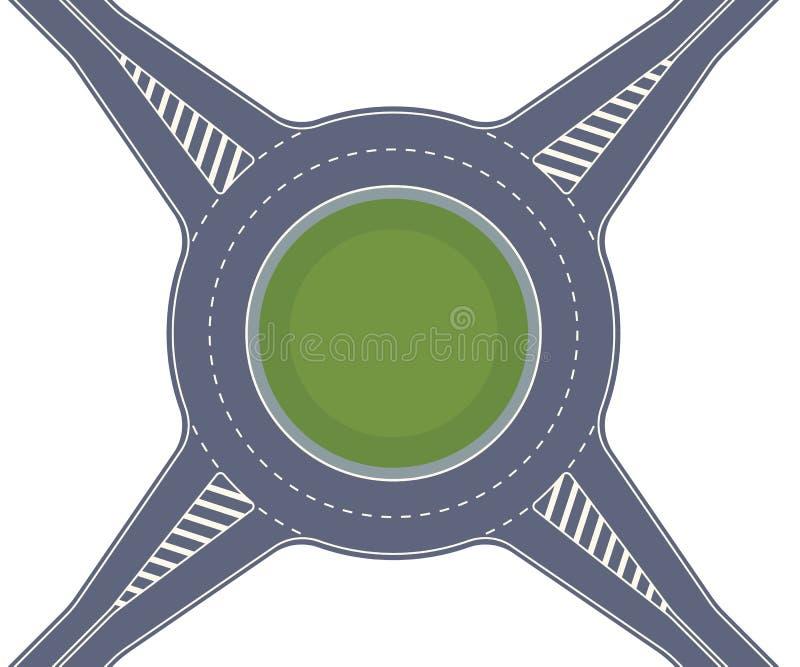 环形交通枢纽路 横渡按照圆环交叉点类型的高速公路 皇族释放例证