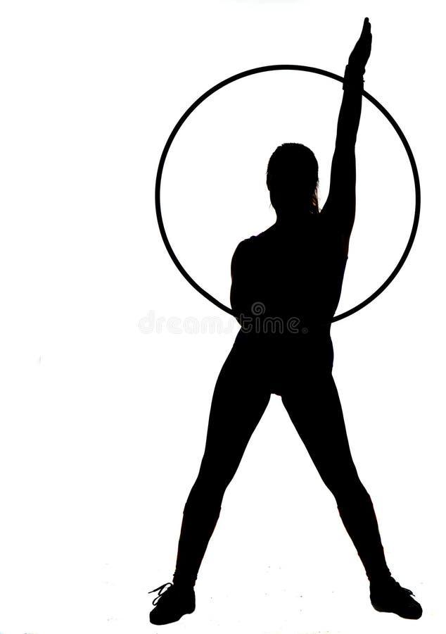 环形剪影妇女 免版税库存照片