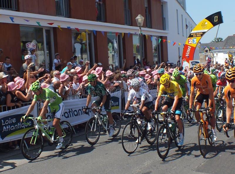 环法自行车赛领导 库存照片