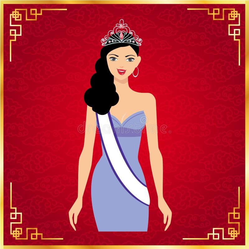 环球小姐和红色背景,传染媒介设计 皇族释放例证