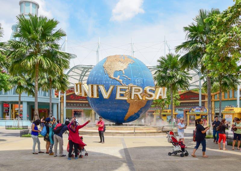 环球影业的新加坡游人 库存照片