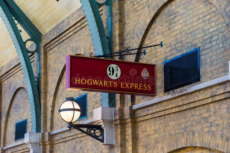 环球影业Hogwarts明确标志 免版税库存图片