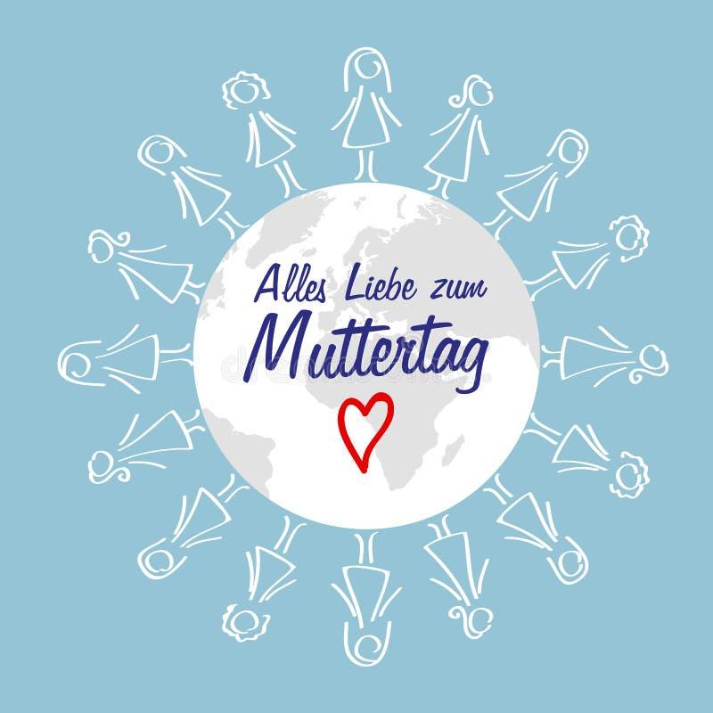 环球greating卡片设计的愉快的母亲节德国在上写字的妇女 向量例证