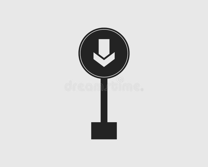 环绕在灰色背景的一个方式路牌象 皇族释放例证