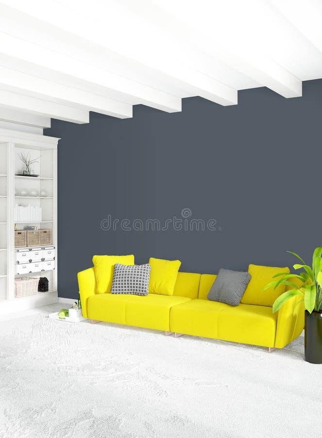 现代与折衷墙壁的卧室黄色沙发豪华最小的样式内部顶楼设计 3d翻译 库存例证