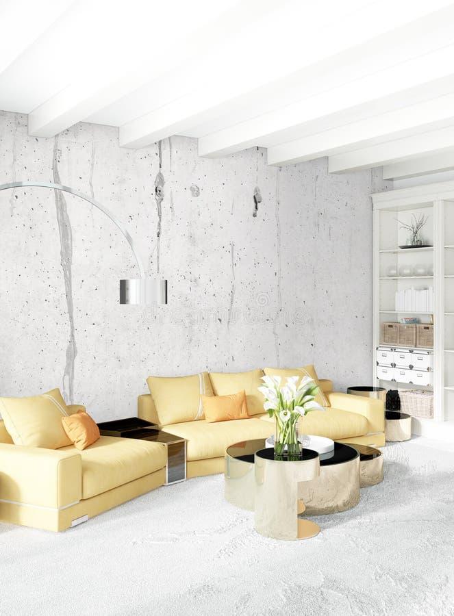 现代与折衷墙壁的卧室黄色沙发豪华最小的样式内部顶楼设计 3d翻译 皇族释放例证