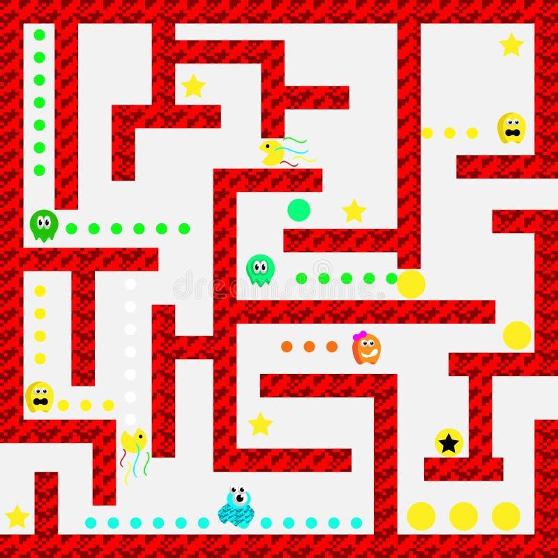 现代与氢结合的妖怪迷宫电子游戏用户界面 库存例证