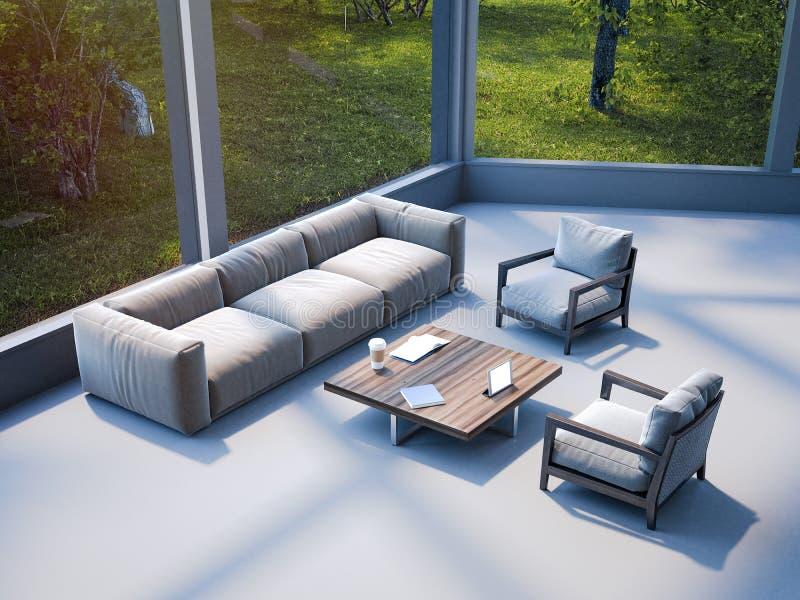 现代与沙发的办公室等候室 3d翻译 库存例证