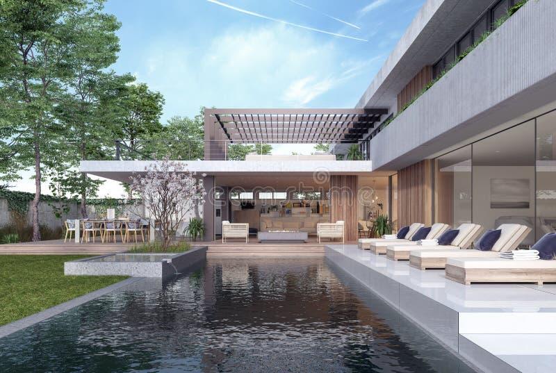 现代与游泳场的房子外部设计 库存例证