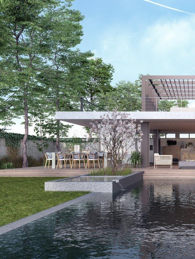 现代与游泳场的房子外部设计 向量例证