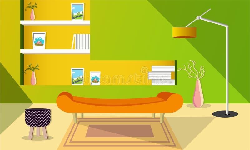 现代与落地灯和沙发集合的客厅室内设计 皇族释放例证