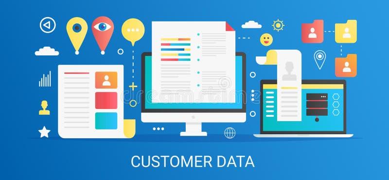 现代与象和文本的传染媒介平的梯度顾客数据概念模板横幅 向量例证