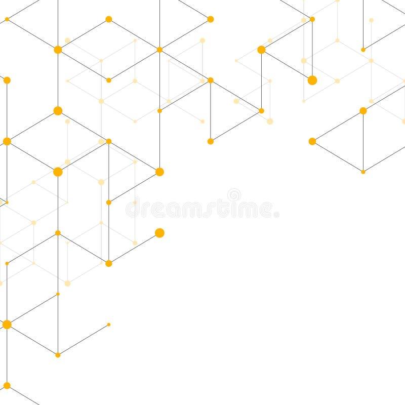 现代与连接线的线艺术样式在白色背景 连接结构 抽象几何图表 皇族释放例证