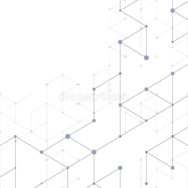 现代与连接线的线艺术样式在白色背景 连接结构 抽象几何图表 库存例证