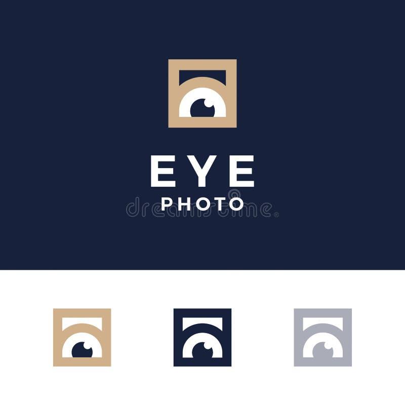 现代专业商标照片在蓝色背景注视 皇族释放例证