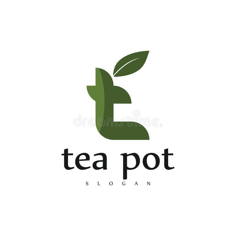 现代专业茶壶咖啡馆商标设计,茶商标,信件t创造性的绿色商标,叶子书信设计 向量例证