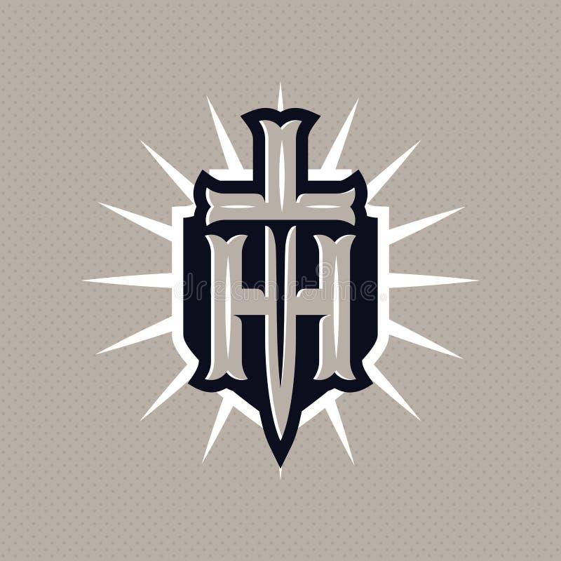 现代专业象征盾和剑 金子题材的组合图案ht 向量例证