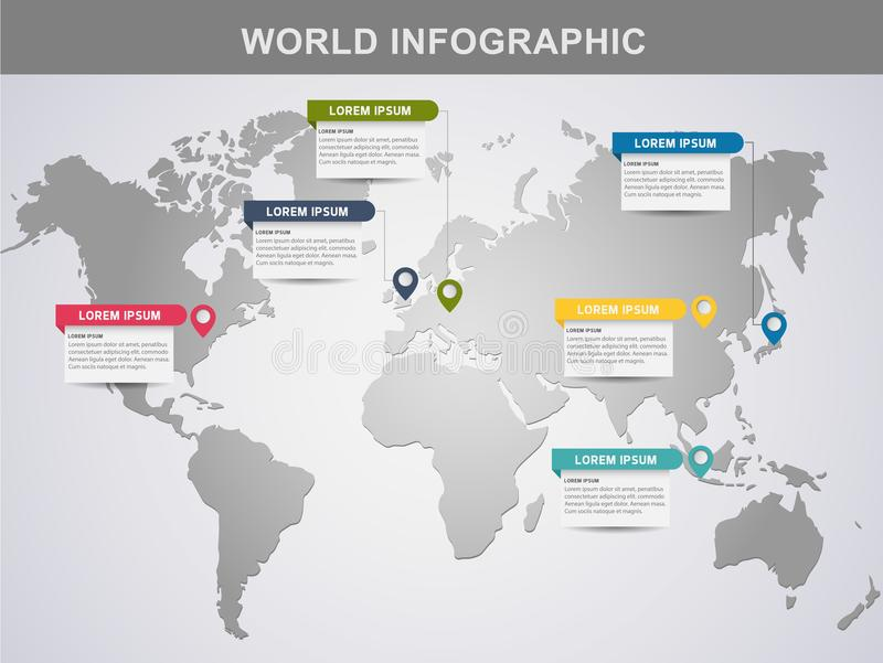 现代世界信息图形设计元素横幅 向量例证