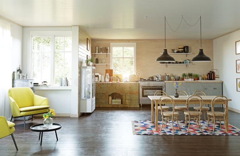 现代乡村模式的厨房 向量例证