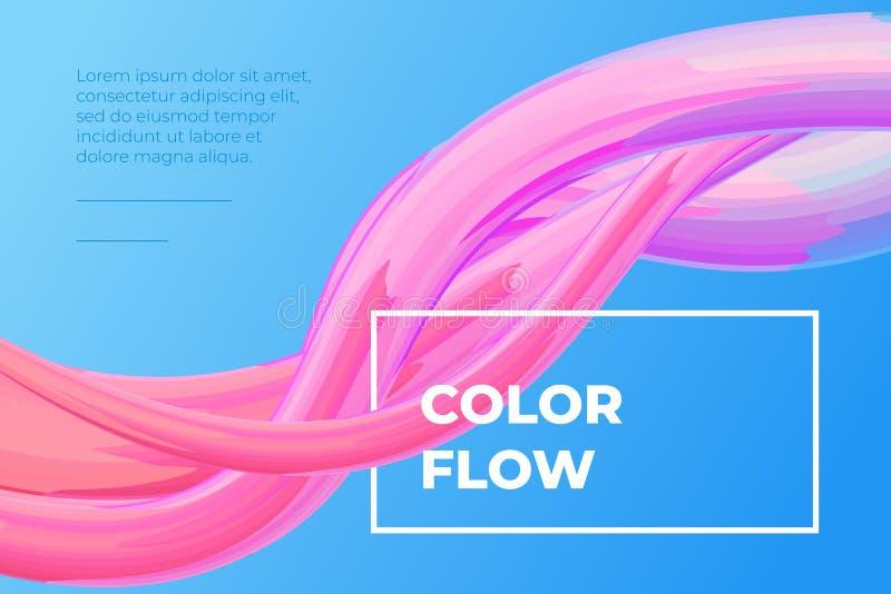 现代五颜六色的流体流动海报 波浪液体形状在蓝色背景中 设计项目的艺术设计 ?? 库存例证