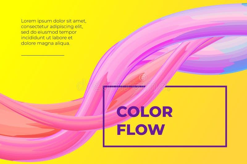 现代五颜六色的流体流动海报 波浪液体形状在黄色颜色背景中 设计项目的艺术设计 ?? 皇族释放例证