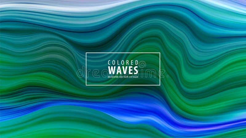 现代五颜六色的流程海报 波浪液体形状在蓝色颜色背景中 艺术设计 也corel凹道例证向量 向量例证