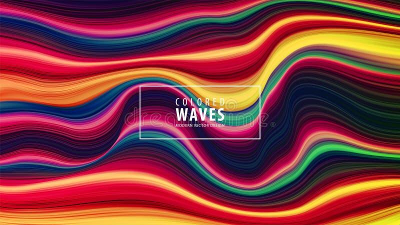 现代五颜六色的流程海报 波浪液体形状在蓝色颜色背景中 艺术设计 也corel凹道例证向量 皇族释放例证