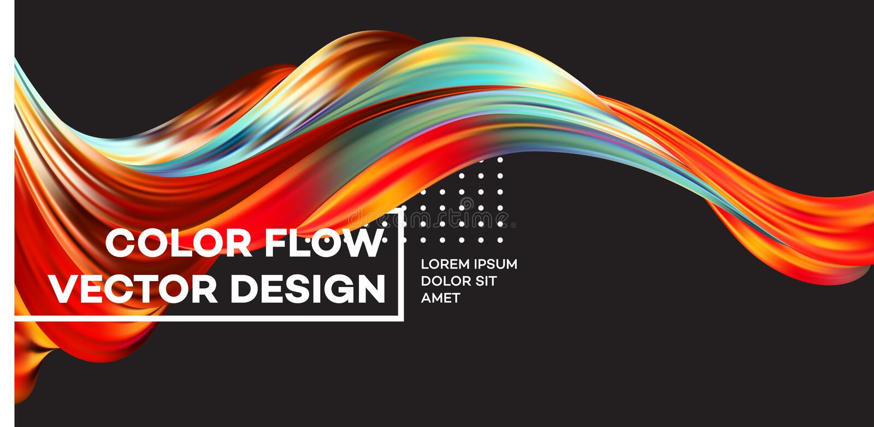 现代五颜六色的流程海报 波浪液体形状在黑颜色背景中 您的设计项目的艺术设计 向量 向量例证