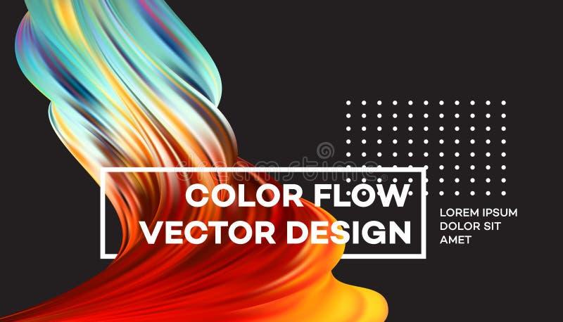 现代五颜六色的流程海报 波浪液体形状在黑颜色背景中 您的设计项目的艺术设计 向量 库存例证