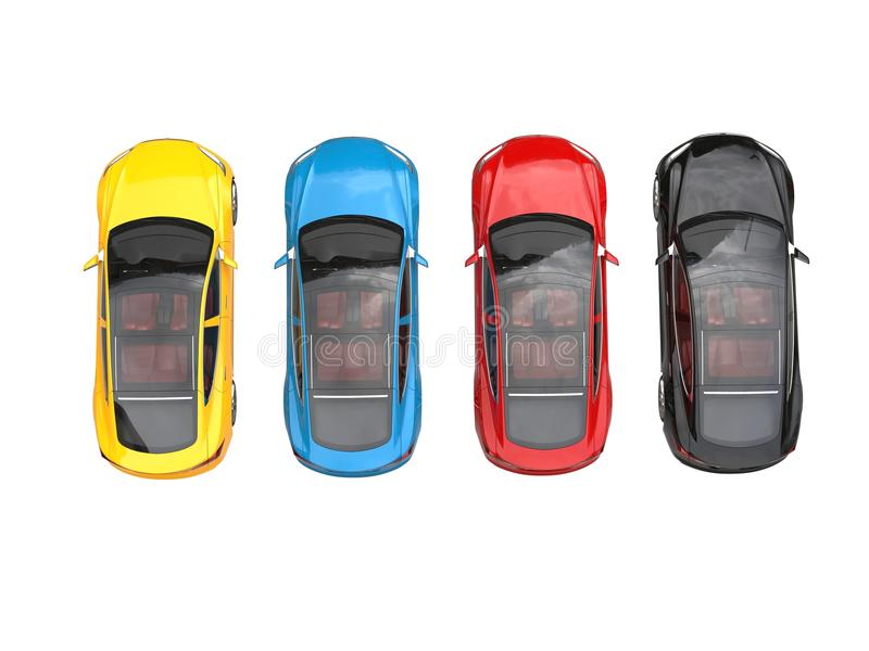 现代五颜六色的电跑车-冠上在看法下 向量例证