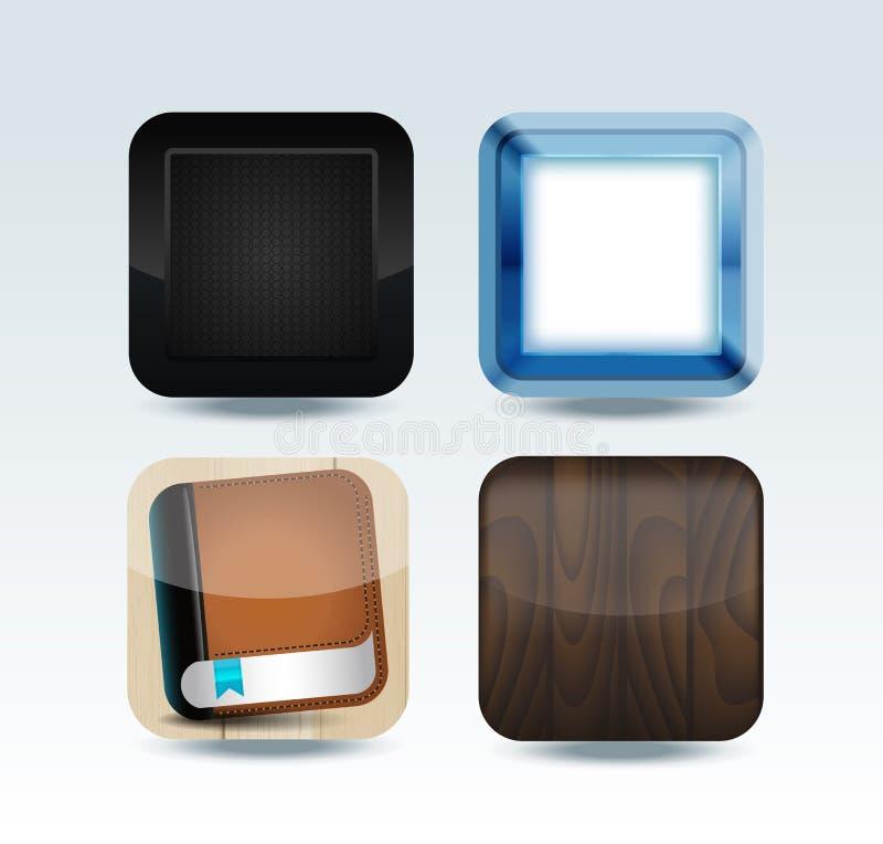 现代五颜六色的app图标集 皇族释放例证