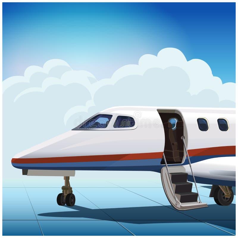 现代企业喷气机在机场 向量例证