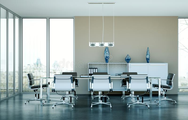 现代会议室室内设计 3d翻译 库存例证