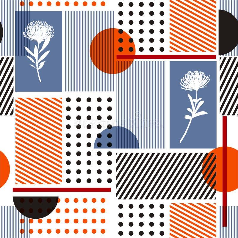 现代传染媒介几何最小的无缝的样式五颜六色的简单的形状和剪影花和条纹设计fashin的,织品, 库存例证