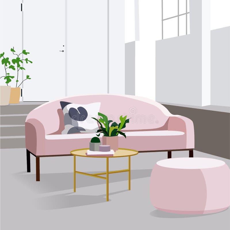 现代传染媒介客厅室内设计 公寓例证 皇族释放例证