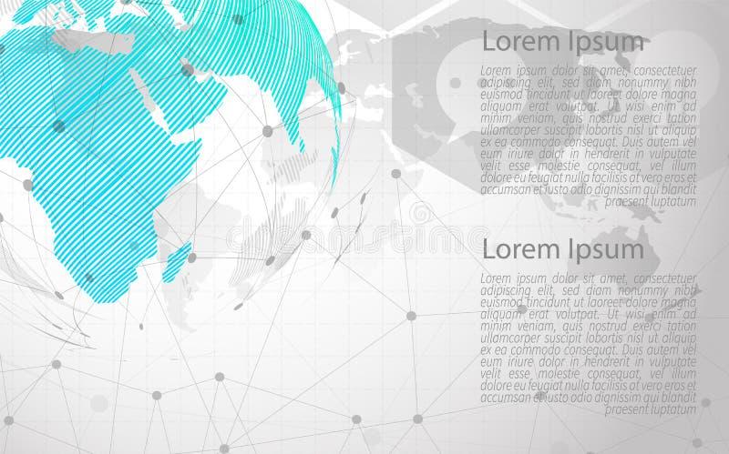 现代传染媒介摘要步标签infographic元素 能为全球网络连接使用 世界地图点和线 ?? 向量例证