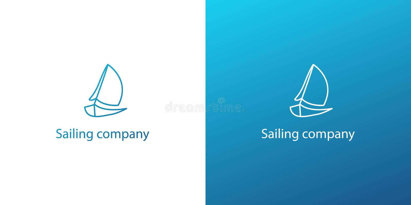 现代传染媒介蓝色概述海洋游艇船商标 皇族释放例证